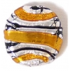 Glass Lamp Bead 22mm Round Disc Yellow/Silver